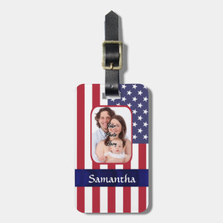 Personalized Patriotic American flag Luggage Tag