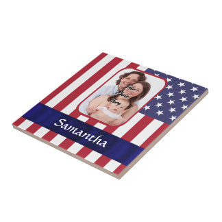 Personalized Patriotic American flag Tile