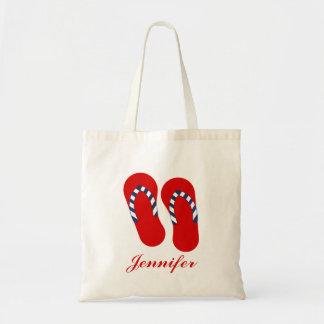 Personalized Patriotic Flip Flop Sandals Tote Bag