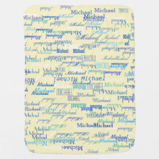 personalized pattern of color names, boy or girls baby blanket
