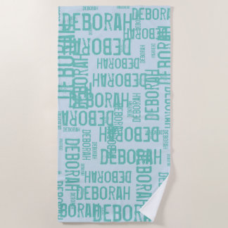 personalized pattern typography names / light blue beach towel
