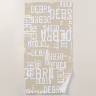 personalized pattern typography names on beige beach towel