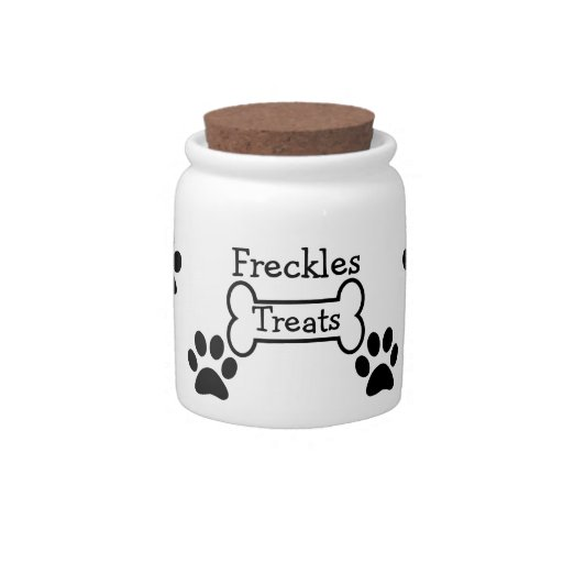Personalized Paw Prints Pet Treats Jar Candy Dishes