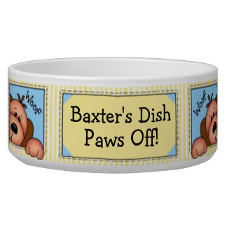 """Personalized """"Paws Off!"""" Doggy Dish Dog Water Bowls"""