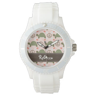 Personalized Peace Love Turtles Watches
