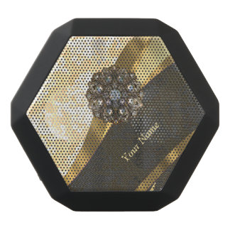 Personalized peach vintage damask pattern black bluetooth speaker