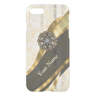 Personalized peach vintage damask pattern iPhone 8/7 case
