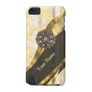 Personalized peach vintage damask pattern iPod touch 5G case
