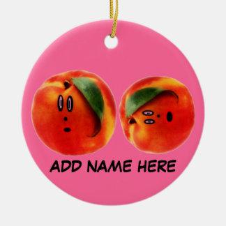 Personalized Peaches Cartoon Round Ceramic Decoration