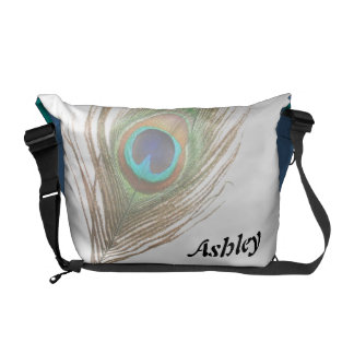 Personalized Peacock Feather Choose Background Courier Bags