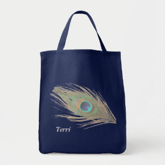 Personalized Peacock Feather Grocery Tote Bag