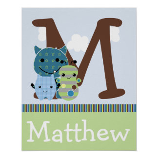 Personalized Peek A Boo Monster Name Poster