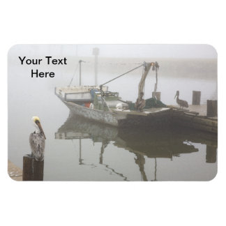 Personalized Pelicans and Fishing Boat Scene Rectangular Photo Magnet