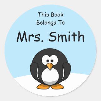 Personalized Penguin Book Label Round Sticker