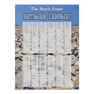 Personalized Perpetual Beach Birthday Calendar Poster