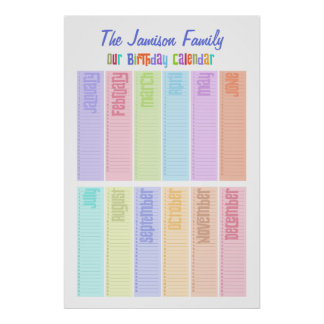 Personalized Perpetual Birthday Calendar Print