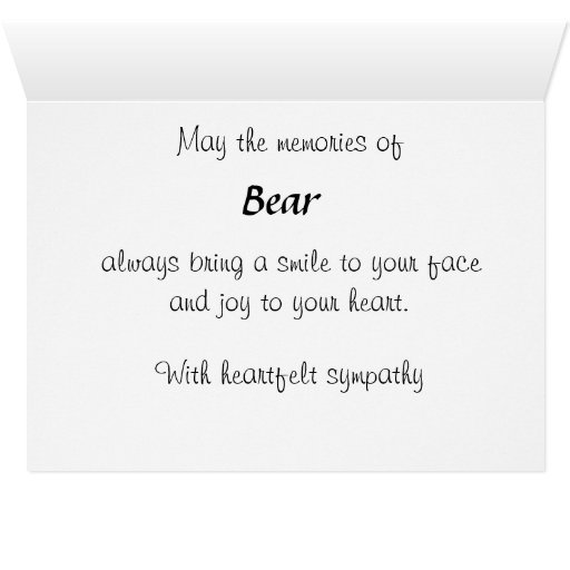 Personalized Pet Bereavement Sympathy Card SPO