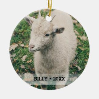 Personalized Pet Goat Photo Name Christmas Tree Christmas Ornament