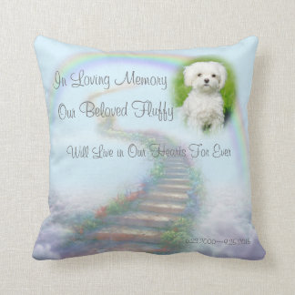 Personalized Pet Memorial Stairway to Heaven Throw Pillow