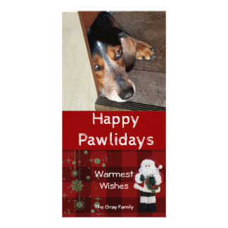 Personalized Pet Photo | Happy Pawlidays Santa Custom Photo Card