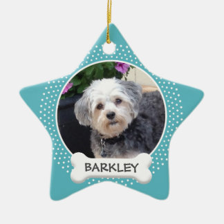 Personalized Pet Photo with Dog Bone Christmas Ornament