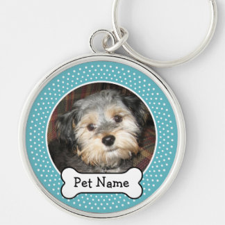 Personalized Pet Photo with Dog Bone Key Ring