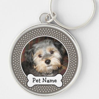 Personalized Pet Photo with Dog Bone Silver-Colored Round Key Ring