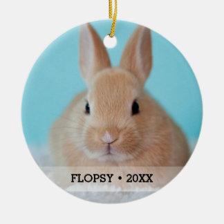 Personalized Pet Rabbit Photo Name Christmas Tree Christmas Ornament