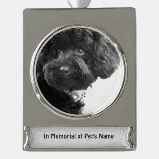 Personalized Pet's Photo In Memorial of Him/Her Silver Plated Banner Ornament