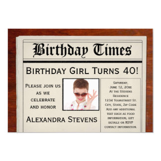 Personalized Photo 40th Birthday Party Newspaper 13 Cm X 18 Cm Invitation Card