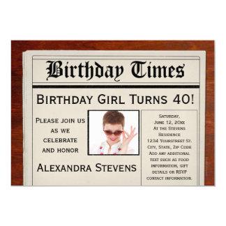Personalized Photo 40th Birthday Party Newspaper 13 Cm X 18 Cm Invitation Card