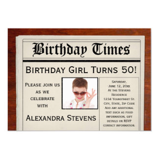 Personalized Photo 50th Birthday Party Newspaper 13 Cm X 18 Cm Invitation Card