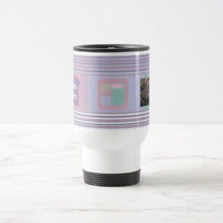 Personalized Photo Abstract Boxes Travel Cup Mug