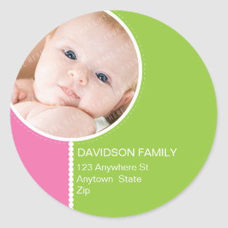PERSONALIZED PHOTO ADDRESS LABELS goodcheer 8 Round Stickers