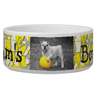 Personalized Photo and Name Dog Bowl Yellow Design