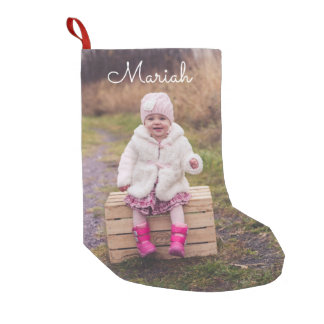 Personalized Photo and Name Small Christmas Stocking