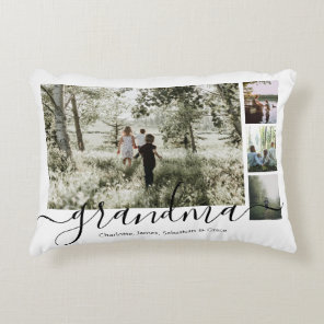 Personalized Photo and Text Photo Collage Family Decorative Cushion