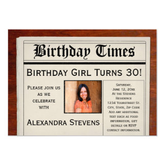Personalized Photo Birthday Party Newspaper 13 Cm X 18 Cm Invitation Card