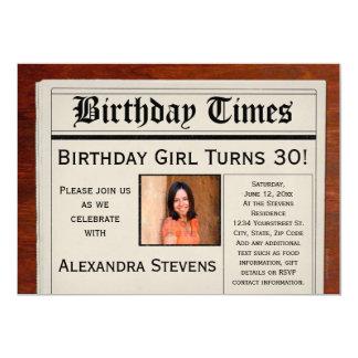 Personalized Photo Birthday Party Newspaper 13 Cm X 18 Cm Invitation Card