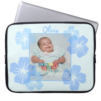 Personalized Photo Blue Floral Laptop Computer Sleeve