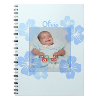 Personalized Photo Blue Floral Note Books