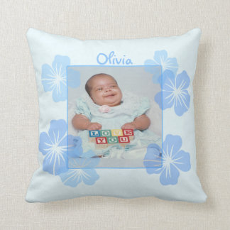 Personalized Photo Blue Floral Throw Cushions