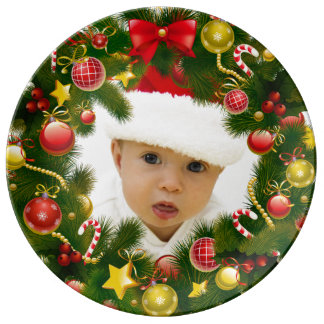 Personalized Photo Christmas Wreath Gift Plate