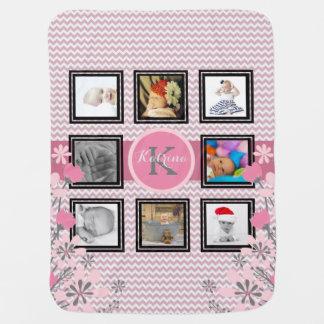Personalized Photo Collage | Pink Chevron Floral Pramblanket