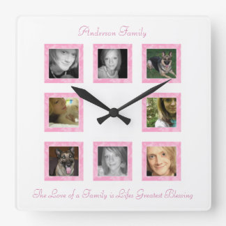 Personalized Photo Collage Wall Clock: Pink Square Wall Clock