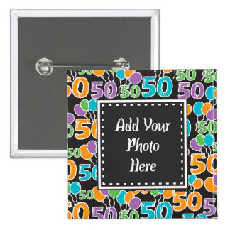 Personalized Photo Colorful 50th Birthday 15 Cm Square Badge
