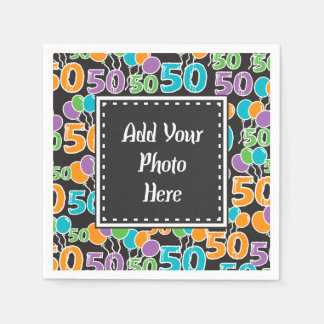 Personalized Photo Colorful 50th Birthday Disposable Napkins