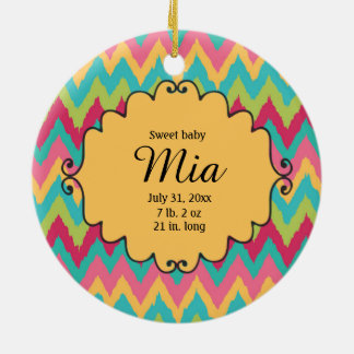 Personalized Photo Colorful Chevron Baby Birthday Christmas Ornament