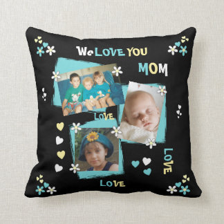 Personalized Photo for Mom Mum black floral Cushion