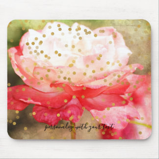 Personalized Photo Gold Confetti Overlay Mouse Mat